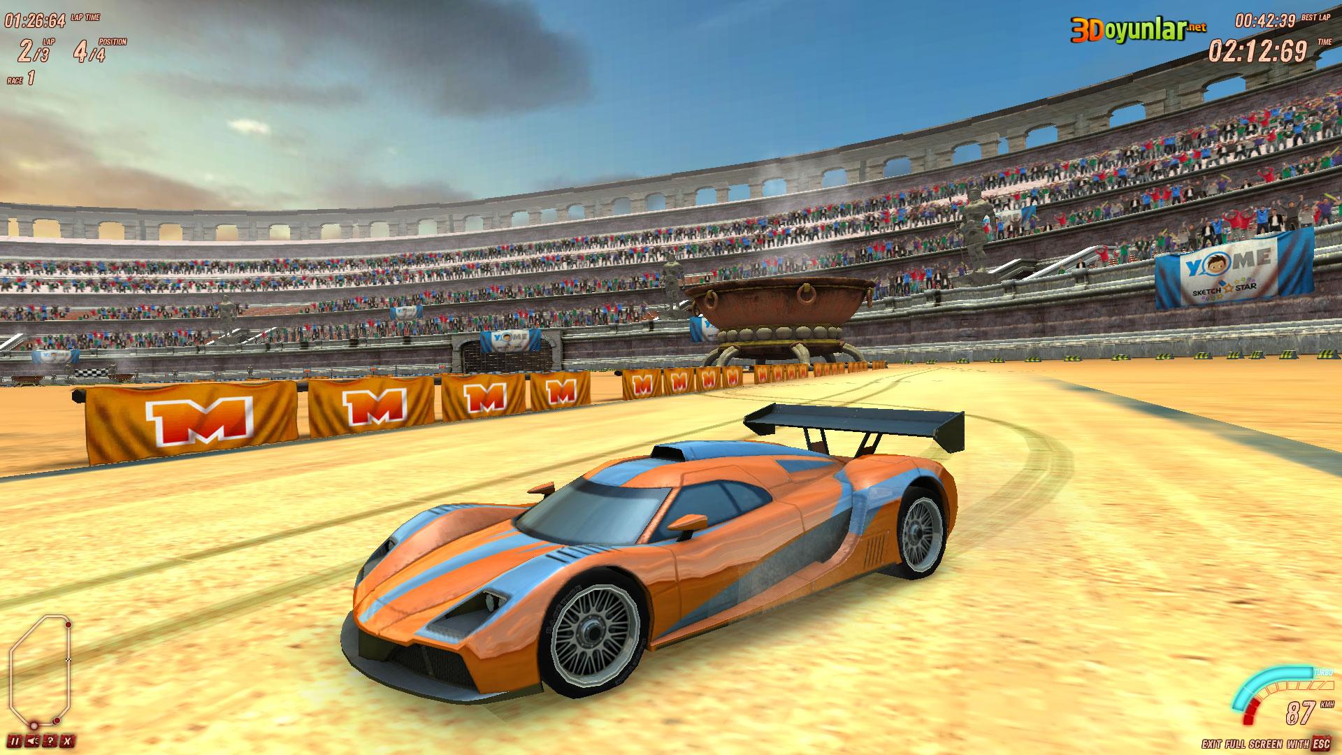 3d oyunlar 3d yarış kumlu yolda araba yarışı oyunu