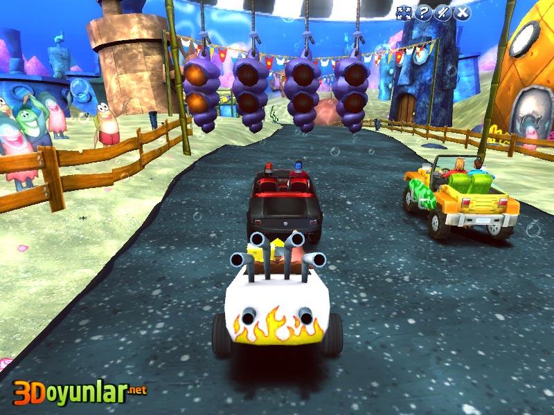 3d oyunlar 3d yarış sünger bob araba yarışı oyunu